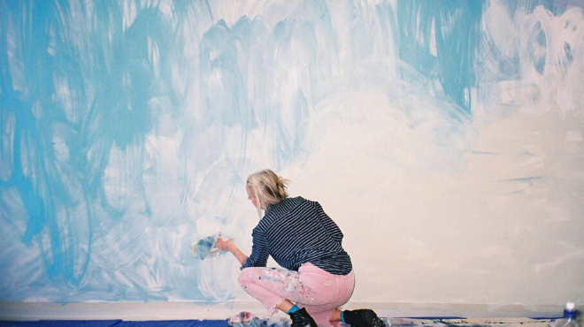 Knightcorp Commissions Local Artist Anya Brock to Paint Abstract Mural